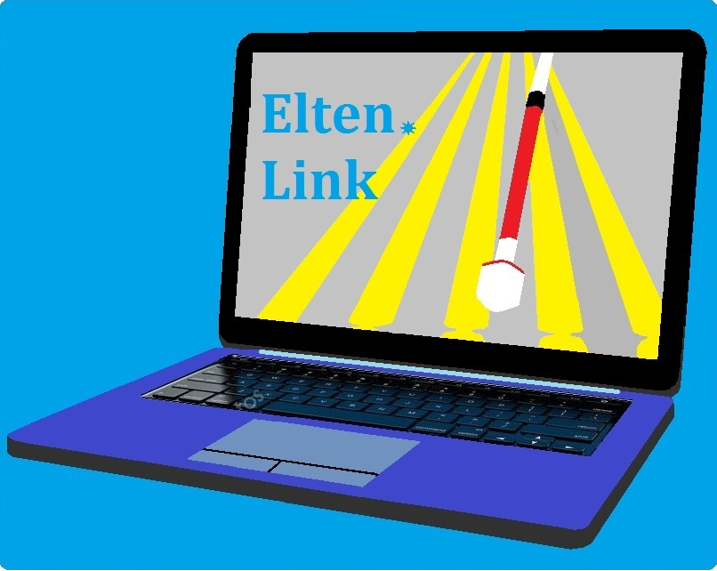 On a blue background a laptop whose screen shows 5 yellow lines forming a guide intersected by the tip of a white cane. At the edge of the screen the words Elten(*)Link separated by a 6-pointed star.